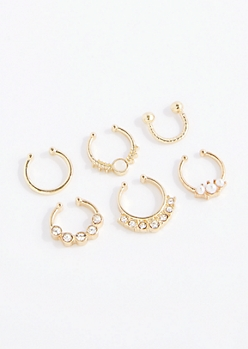 6-Pack Gold Pearl & Crystal Nose Ring Set