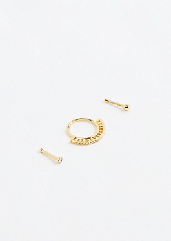 Gold Fan Nose Ring Set