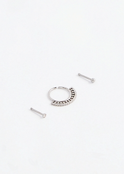 Silver Fan Nose Ring Set