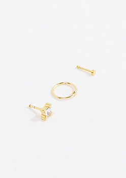 Gold Rhinestone Nose Ring Set