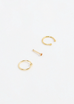 Gold Nose Ring Set