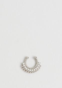 Silver Diamante Illusion Septum Ring