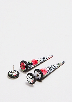Wild Rose Illusion Taper Earrings