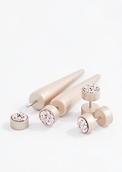 Rose Gold Druzy Faux Taper & Plug Duo