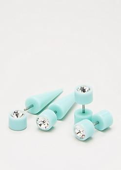 Mint Faux Taper & Plug Set