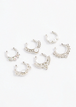 6-Pack Gypsy Stone Nose Ring Set