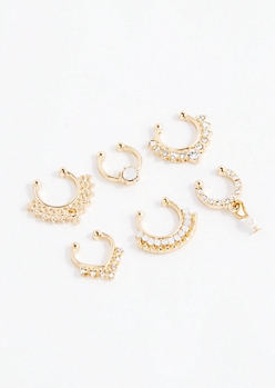 6-Pack Tribal Stone Nose Ring Set