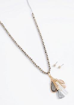 Beaded Druzy Stone Jewelry Set