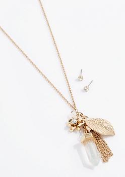 Stone Leaf Cluster Jewelry Set