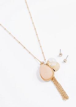 Pink Druzy Jewelry Set