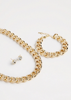 Metallic Gold Chain-Link Jewelry Set