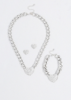 Embellished Hearts Jewelry Set
