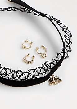 Elephant Choker & Septum Ring Set