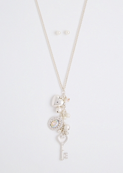 Sweetheart Cluster Charm Necklace Set