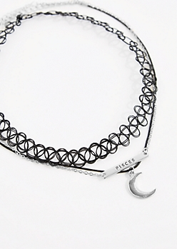3-Pack Silver Pisces Fortune Choker