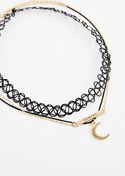 3-Pack Golden Gemini Fortune Choker
