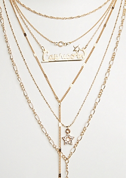 6-Pack Golden Capricorn Necklace Set