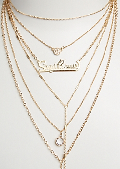 6-Pack Golden Sagittarius Necklace Set