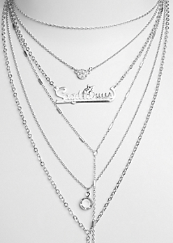 6-Pack Silver Sagittarius Necklace Set