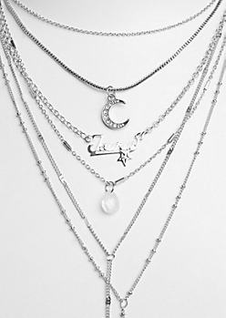 6-Pack Silver Taurus Necklace Set