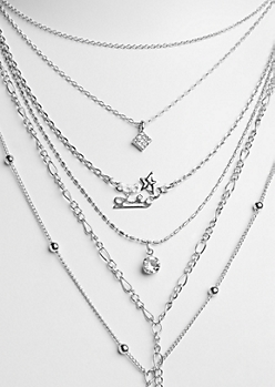 6-Pack Silver Leo Necklace Set