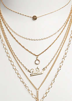 6-Pack Golden Pisces Necklace Set