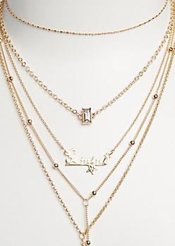 6-Pack Golden Gemini Necklace Set