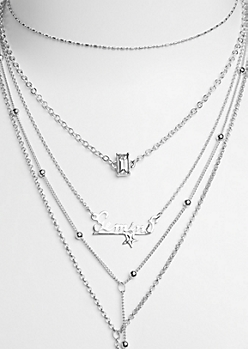 6-Pack Silver Gemini Necklace Set