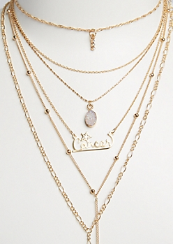 6-Pack Golden Cancer Necklace Set