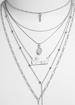 6-Pack Silver Cancer Necklace Set