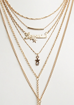 6-Pack Golden Aquarius Necklace Set