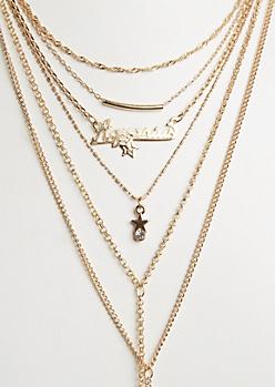 6-Pack Golden Aquarius Necklace Set