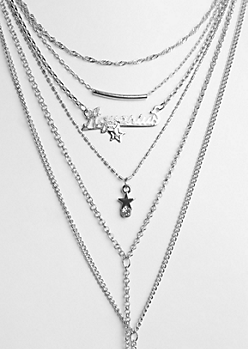 6-Pack Silver Aquarius Necklace Set