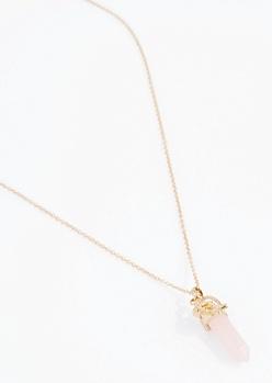 Rose Quartz Falling Leaf Necklace