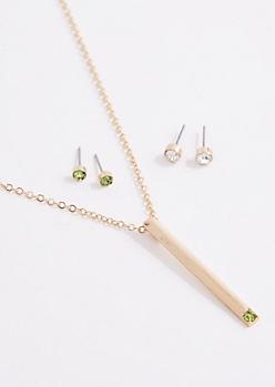 August Birthstone Jewelry Set