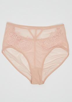 Pink Sheer Floral High Waist Bikini Undie