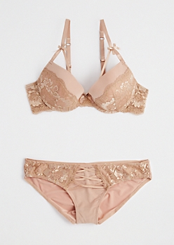 Nude Caged Lace Lingerie Set