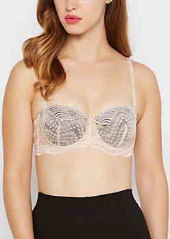 Soft Pink Lace Convertible Push-Up Bra