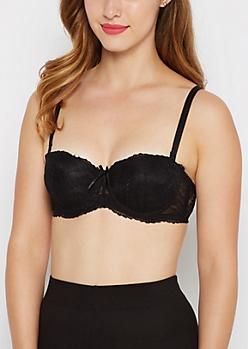 Black Lace Convertible Push-Up Bra