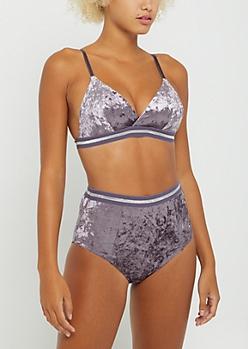 Lavender Velvet Bra & Undie Set