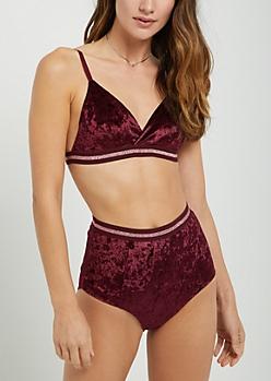 Burgundy Velvet Bra & Undie Set
