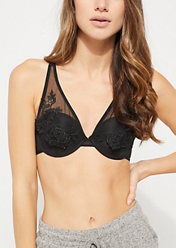 Black Embroidered Mesh Crossing Strap Bra