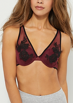 Burgundy Embroidered Mesh Crossing Strap Bra