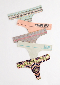 5-Pack Tribal Wide Band Thong