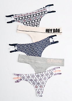 5-Pack Hey Bae Caged Thong Set