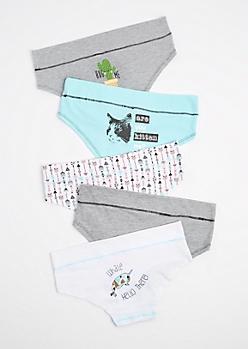 5-Pack Boho Graphic Bikini Undie Set