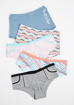 5-Pack Graphic Boyleg & Bikini Undie Set