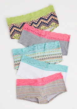5-Pack Aztec Lace Hipster Undie