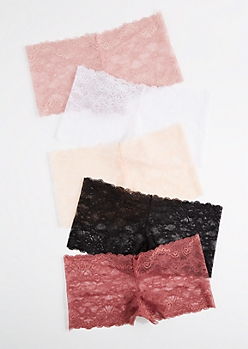 5-Pack Dusty Pink Lace Boyleg Undie Set
