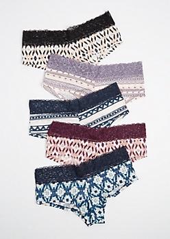 5-Pack Lace Waist Shadow Stripe Boyleg Undies